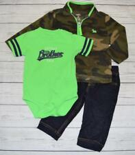 Infant 12m CARTERS 3pc Outfit Fleece Camo Sweatshirt Snap Shirt Jeans Brother