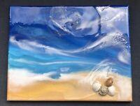 Original Beach Painting Resin Art Abstract Contemporary Aqua High Gloss