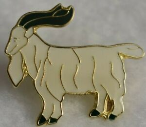 Goat lapel pin  off White with beard  and a happy face Nice Collector pin   New