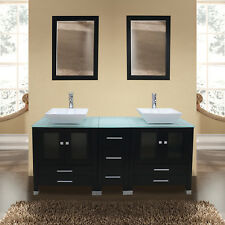 "60"" Black Bathroom Vanity Cabinet Solid Wood Ceramic Sink Modern Design w/Mirror"