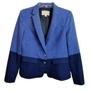 Banana Republic Hacking Jacket Blazer Size 12 Blue Herringbone Colorblock Wool