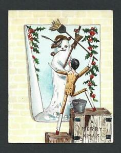 Y25 - WOODEN PEG DOLL AND SNOWMAN - EDWARDIAN FOLDING EMBOSSED XMAS CARD