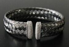 Silver Endcaps & Diamonique Cuff Bracelet New Rare Vicenza Bold Woven Titanium