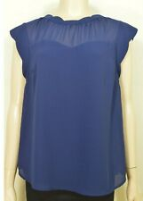 Monteau top SZ XL navy crepe polyester lined cap sleeves chic career