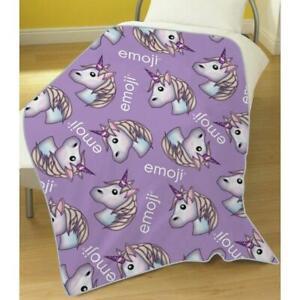 Emoji Unicorn Fleece Blanket Bed Throw Lilac Matches Bedding