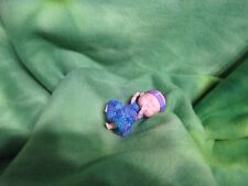 "3"" BABY DOLL TINY CROCHET DRESS HEADBAND CUTE COLLECTIBLE KEEPSAKE NURSERY GIFTS"