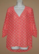Womens Size Small Long Sleeve Fall Fashion White Coral Floral Blouse Top Shirt
