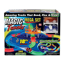 Magic Tracks 18 ft. Mega Set With LED Race cars MEGA-Cool Colorful Glow In The D