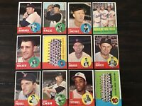 ⚾️⚾️1963 Topps Baseball Lot Of 12 Koufax Drysdale Dodger Big 3, Piersall ⚾️⚾️