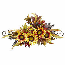 Faux Silk Yellow Sunflower Swag Metal Frame  with Red Brown 4932 Nearly Natural