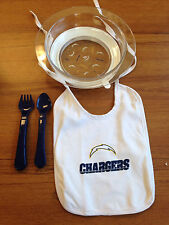 NFL San Diego Chargers Baby Bowl , Spoon, Fork and Bib New