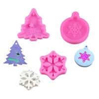 Xmas Resin Casting Silicone Mold Snowflake Tree Epoxy Hanging Pendant Ornament