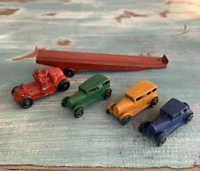 Vintage Die Cast 00006000  Tractor Trailer Rig 6 3/4� + 3 Metal Cars 2.3�