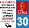 Autocollant sticker plaque immatriculation HQ departement 30 region occitanie