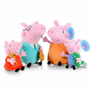 Peppa's family of four pink Pepe pig plush toy pig doll 10 inch Kids Gift AU