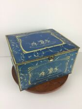 Vtg Art Nouveau Globe Soap Tin Fairy Nymph Nymphs Blue Gold Fantasy Deco