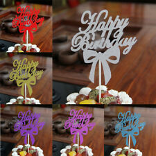 Fashion Bowknot Cake Topper Happy Birthday Wedding Party Supplies Decor