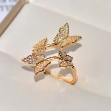 Luxury Silver/Gold Color Cubic Zirconia Rings Women Butterfly Open Ring Jewelry