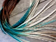 X long feather hair extensions Dun Grizzly black turquoise ombre w/ fluff beads