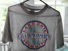 Vtg Lake Erie Swimming T Shirt Tee 50/50 Hanes 80s Paper Thin Swim L Grey USA
