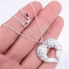 """925 Sterling Silver Chic Large Angel Wings Pendant + 18"""" Chain Necklace Set H395"""