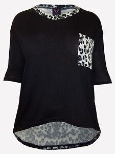 Women's Black Top plus size 16 18/20 22/24 26/28 Animal Print knit 3/4 sleeve272