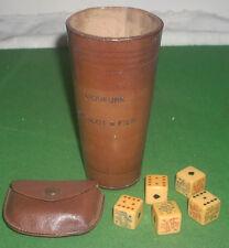 Vintage H Blot & Fils French Liqueur Leather Dice Cup & Bakelite  Poker Dice