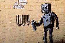 """Banksy Robot Sraypaint Barcode Street Art Graffiti 12x18"""" Real Canvas Print"""