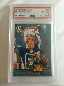 PSA 8 1999 KEVIN HARVICK PRESS PASS RC #76
