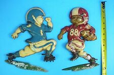 Two Vintage 1976 Homco Metal Football Players Wall Plaques/ Hangings #1254