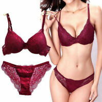 Women's Push Up Embroidery Sexy Lace Floral Bra Sets Panties Underwear 4 Colors