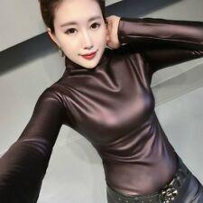 Mode Damen Kunstleder sexy einfach Pullover Bluse schmal elastisch Oberteile