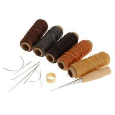 Gewachst Wachs Faden Lederfaden Nadeln Nähnadeln Set für Leder Reparatur