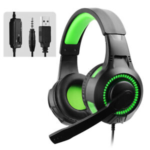 Gaming Headset Wired Over-Ear Headphone LED Light For PS4 Xbox 360 PC 3.5mm Jack