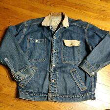 VTG Banana Republic Safari & Travel Denim Jacket Coat Leather Collar LARGE USA