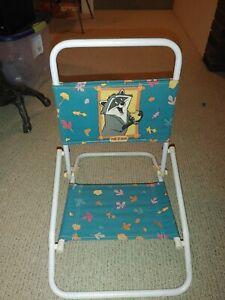 Vintage Disney Princess Pocahontas & Meeko Child's Folding Metal Fabric Chair