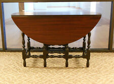 "Handsome Antique Dark Mahogany Round 48"" Drop Leaf Gate Leg Table w One Drawer"