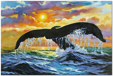 Sea Shepherd - Hand Painted Ocean Landscape WhaleTail Oil Painting On Canvas