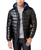 Cole Haan Mens Jacket Black Size Medium M Zip Hood Faux Leather Puffer $265 252