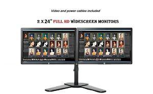 """2 x 24"""" Dual Monitor Cheap Gaming Monitor LED 1080p Computer Laptop VGA DVI DP"""