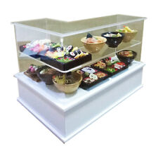 Dollhouse Miniatures L-Shaped Acrylic Bakery Counter with Sushi and Udon