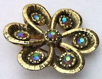 Vintage Aurora Borealis Rhinestone Pin Brooch Gold Tone