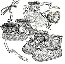 Vintage Knitting PATTERN to make Baby Infant Booties Soft Shoes Three Variations