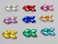 200 Mixed Colour Mosaics Rhombus Flatback Rhinestone Gems 12X8mm Embellishments