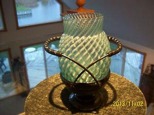 Buckeye Glass Brides Basket Rare Blue & White Reverse Swirl W/Silverplated Base