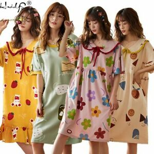 Women Short Sleeve Sleep Shirt Cartoon Sleep Dress Cotton Nightgown Nightshirt