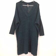 Free People green sweater dress tunic size small oversized v neck open knit weav