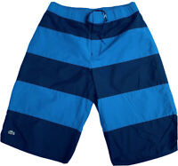 Lacoste Mens Med/lg Blue Colorblock Shorts Swim Trunks Elastic Waist Mesh Lining