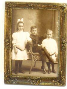 """""""Bronze"""" Framed Victorian Photograph of 3 Children - Artisan Dollhouse Miniature"""