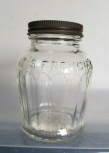 Vintage French's 8 Oz Glass Mustard Jar with Lid
